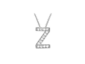 Bella Luce ® .40ctw Round Rhodium Over Sterling Silver Block Letter Z Necklace