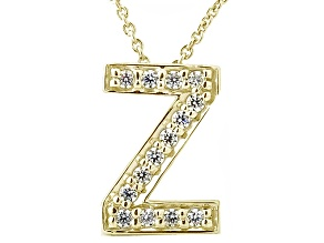 Bella Luce ® .40ctw Round 18k Yellow Gold Over Sterling Silver Block Letter Z Necklace