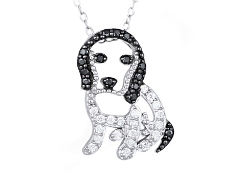 Bella Luce ® .59ctw Rhodium Over Sterling Silver Dog Necklace