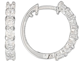 Bella Luce ® 1.41ctw Rhodium Over Sterling Silver Huggie Earrings