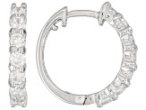 White Cubic Zirconia Rhodium Over Sterling Silver Huggie Earrings 1.41ctw