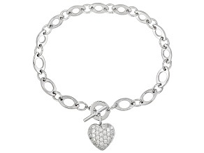 Bella Luce ® White Cubic Zirconia  1.13ctw Rhodium Over Sterling Silver Bracelet & Heart Charm