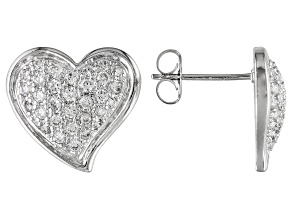 Bella Luce ® 1.17ctw Rhodium Over Sterling Silver Heart Earrings