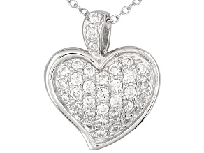 Bella Luce ® 1.22ctw Rhodium Over Sterling Silver Heart Pendant With 18 inch Chain