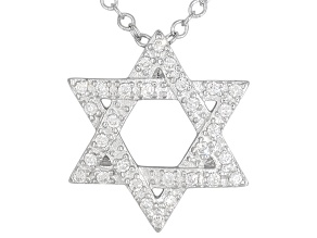 Bella Luce ® .27ctw Rhodium Over Sterling Silver Star Of David Pendant With 18 inch Chain