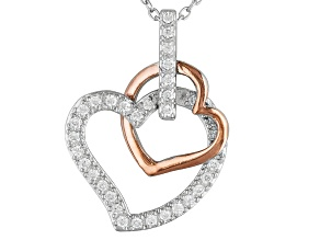 Bella Luce ® .53ctw Rhodium And 18k Rose Gold Over Sterling Silver Heart Pendant With 18