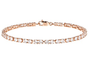 White Cubic Zirconia 18K Rose Gold Over Silver Bracelet 8.91CTW