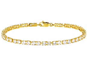 White Cubic Zirconia 18K Yellow Gold Over Sterling Silver Bracelet 8.91CTW