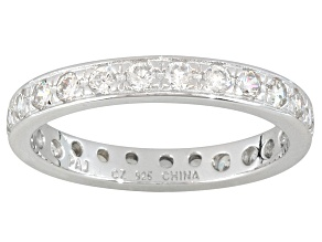White Cubic Zirconia Rhodium Over Sterling Silver Eternity Band 1.45ctw