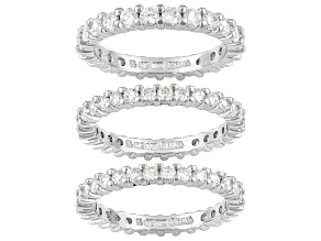 White Cubic Zirconia 5.13ctw Rhodium Over Sterling Silver Ring Set Of 3