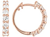 White Cubic Zirconia 18k Rose Gold Over Sterling Silver Huggie Earrings 1.51ctw