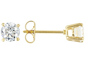 White Cubic Zirconia 1.53ctw 18k Yellow Gold Over Sterling Silver Stud Earrings