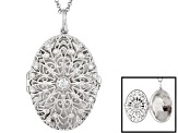 Bella Luce ® .48ctw Platinum Over Sterling Silver Locket With 21 inch Rolo Chain
