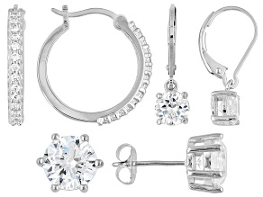 Bella Luce ® 7.42ctw Rhodium Over Sterling Silver Set Of Three Earrings