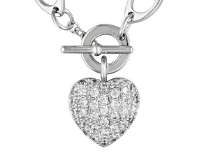 Bella Luce ® White Cubic Zirconia 1.84ctw Rhodium Over Sterling Silver Heart Necklace