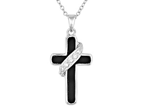 Bella Luce ® .11ctw White Cubic Zirconia And 1.13ct Black Onyx Rhodium Over Silver Pendant And Chain