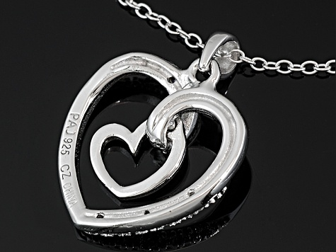 Bella Luce ® .05ctw Rhodium Plated And 18k Rose Gold Over Sterling Silver Heart Pendant With Chain