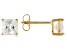 White Cubic Zirconia 18k Yellow Gold Over Sterling Silver Stud Earrings