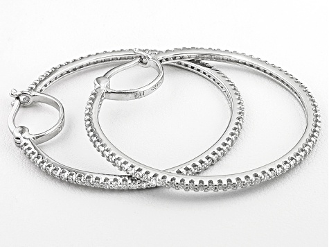 Bella Luce ® 1.96ctw Platinum Plated Sterling Silver Hoop Earrings