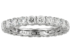 White Cubic Zirconia Platinum Over Sterling Silver Eternity Band 3.96ctw