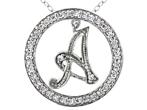 Bella Luce ® 1.09ctw Round Rhodium Over Sterling Silver initial A Pendant With 18