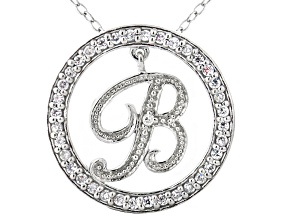 Bella Luce ® 1.07ctw Round Rhodium Over Sterling Silver initial B Pendant With 18