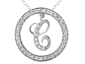 Bella Luce ® 1.24ctw Round Rhodium Over Sterling Silver initial C Pendant With 18