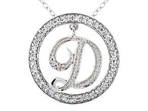 Bella Luce ® 1.09ctw Round Rhodium Over Sterling Silver initial D Pendant With 18