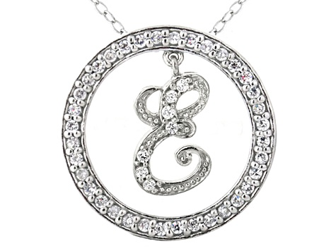 Bella Luce ® 1.24ctw Round Rhodium Over Sterling Silver initial E Pendant With 18