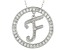Bella Luce ® 1.07ctw Round Rhodium Over Sterling Silver initial F Pendant With 18