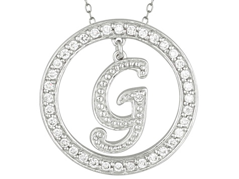 Bella Luce ® 1.07ctw Round Rhodium Over Sterling Silver initial G Pendant With 18