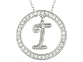 Bella Luce ® 1.07ctw Round Rhodium Over Sterling Silver initial I Pendant With 18