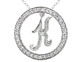 Bella Luce ® 1.07ctw Round Rhodium Over Sterling Silver initial K Pendant With 18