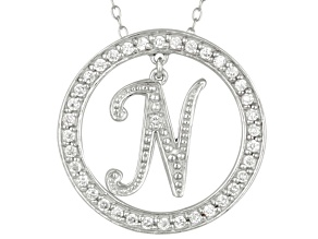 Bella Luce ® 1.07ctw Round Rhodium Over Sterling Silver initial N Pendant With 18