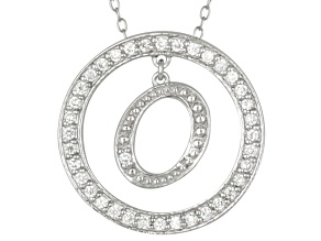 Bella Luce ® 1.07ctw Round Rhodium Over Sterling Silver initial O Pendant With 18
