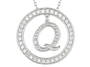 "White Cubic Zirconia Round Rhodium Over Sterling Silver initial Q Pendant With 18"" Chain 1.07ctw"