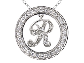 Bella Luce ® 1.24ctw Round Rhodium Over Sterling Silver initial R Pendant With 18