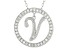 Bella Luce ® 1.07ctw Round Rhodium Over Sterling Silver initial V Pendant With 18