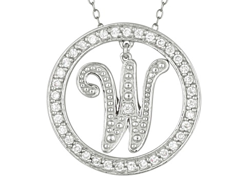 Bella Luce ® 1.07ctw Round Rhodium Over Sterling Silver initial W Pendant With 18