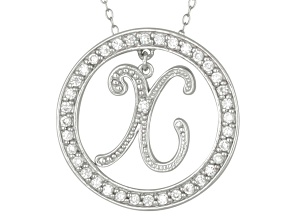 "White Cubic Zirconia Round Rhodium Over Sterling Silver initial X Pendant With 18"" Chain 1.07ctw"