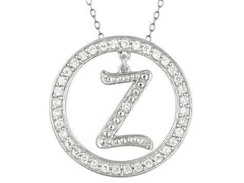 Bella Luce ® 1.07ctw Round Rhodium Over Sterling Silver initial Z Pendant With 18