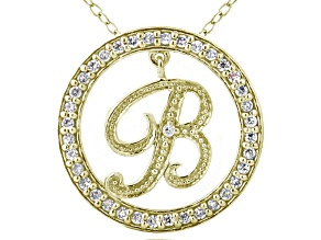 Bella Luce ® 1.07ctw Round 18k Yellow Gold Over Sterling Silver initial B Pendant With 18