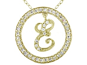Bella Luce ® 1.24ctw Round 18k Yellow Gold Over Sterling Silver initial E Pendant With 18