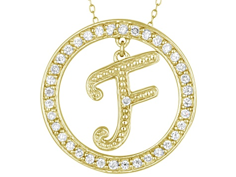 Bella Luce ® 1.07ctw Round 18k Yellow Gold Over Sterling Silver initial F Pendant With 18