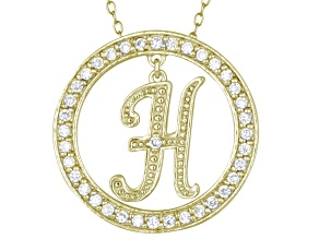 Bella Luce ® 1.07ctw Round 18k Yellow Gold Over Sterling Silver initial H Pendant With 18
