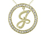 Bella Luce ® 1.07ctw Round 18k Yellow Gold Over Sterling Silver initial J Pendant With 18