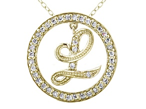 Bella Luce ® 1.16ctw Round 18k Yellow Gold Over Sterling Silver initial L Pendant With 18