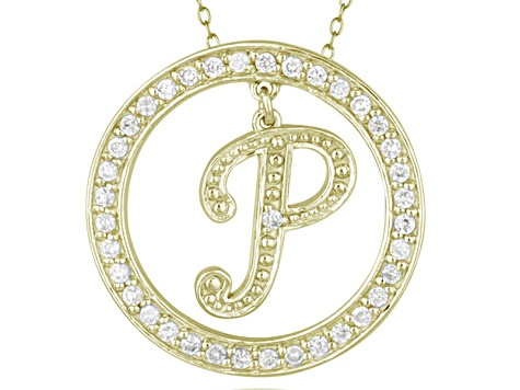 Bella Luce ® 1.07ctw Round 18k Yellow Gold Over Sterling Silver initial P Pendant With 18