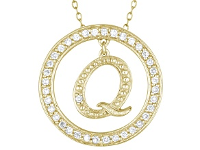 Bella Luce ® 1.07ctw Round 18k Yellow Gold Over Sterling Silver initial Q Pendant With 18
