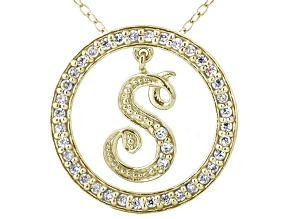 Bella Luce ® 1.13ctw Round 18k Yellow Gold Over Sterling Silver initial S Pendant With 18